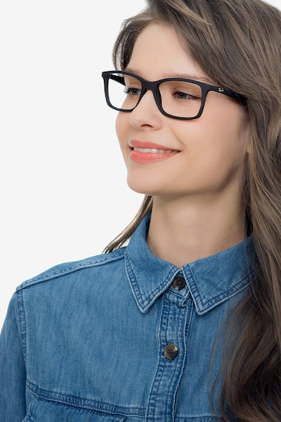 Ray-Ban RB7047 Black Plastic Eyeglass Frames for Women from EyeBuyDirect, Front View