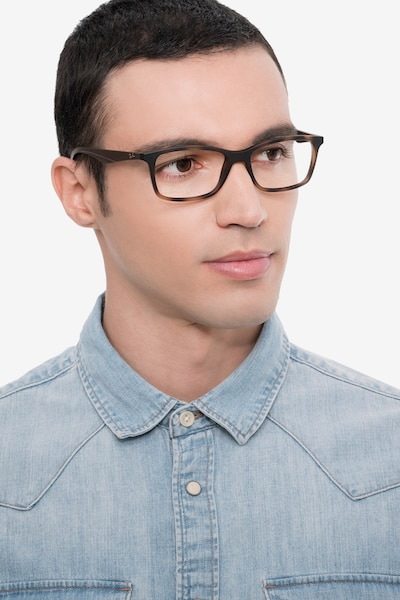 Ray-Ban RB7047 Tortoise Brown Plastic Eyeglass Frames for Men from EyeBuyDirect, Front View