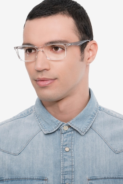 Ray-Ban RB7047 Clear & Gray Plastic Eyeglass Frames for Men from EyeBuyDirect, Front View