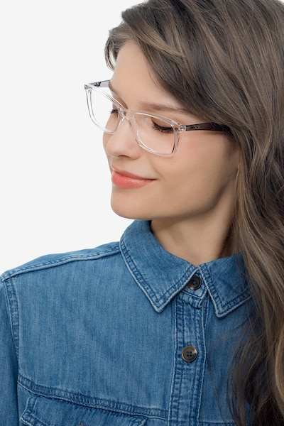 Ray-Ban RB7047 Clear & Gray Plastic Eyeglass Frames for Women from EyeBuyDirect, Front View