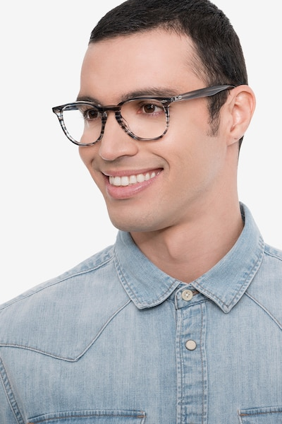 Ray-Ban RB7159 Blue Plastic Eyeglass Frames for Men from EyeBuyDirect, Front View