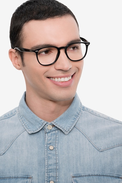 Ray-Ban RB7159 Black Plastic Eyeglass Frames for Men from EyeBuyDirect, Front View
