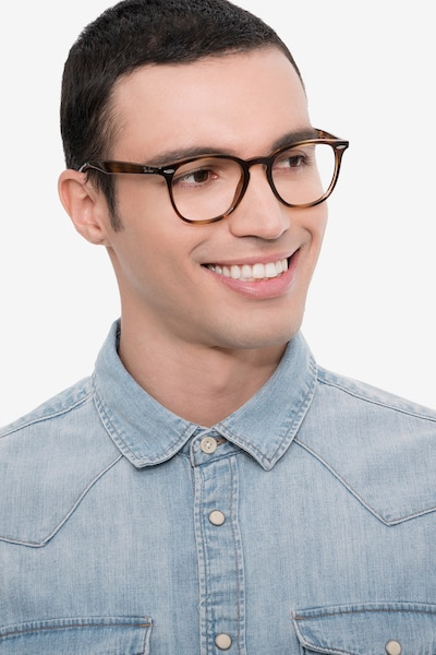 Ray-Ban RB7159 Tortoise Plastic Eyeglass Frames for Men from EyeBuyDirect, Front View