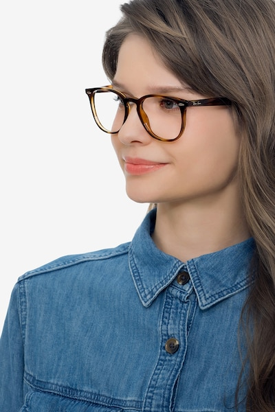 Ray-Ban RB7159 Tortoise Plastic Eyeglass Frames for Women from EyeBuyDirect, Front View