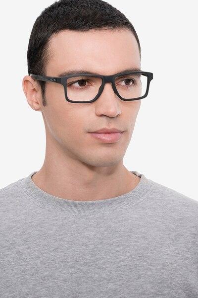 Oakley Chamfer Squared Satin Black Plastic Eyeglass Frames for Men from EyeBuyDirect, Front View