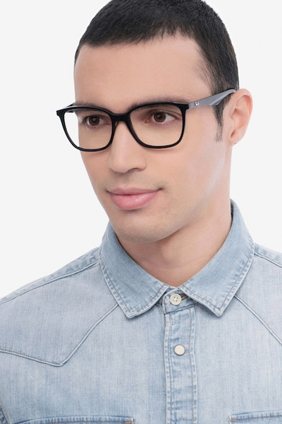 Ray-Ban RB7066 Black Plastic Eyeglass Frames for Men from EyeBuyDirect, Front View