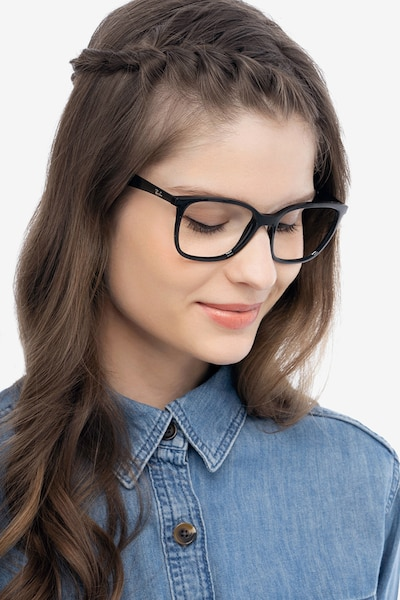 Ray-Ban RB7066 Black Plastic Eyeglass Frames for Women from EyeBuyDirect, Front View