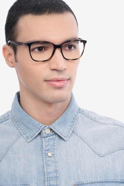 Ray-Ban RB7066 Tortoise Brown Plastic Eyeglass Frames for Men from EyeBuyDirect, Front View