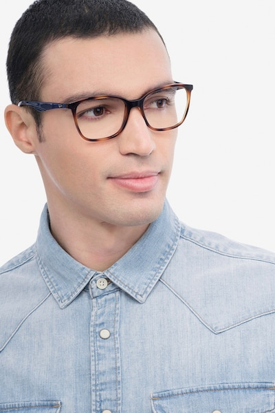 Ray-Ban RB7066 Tortoise Blue Plastic Eyeglass Frames for Men from EyeBuyDirect, Front View