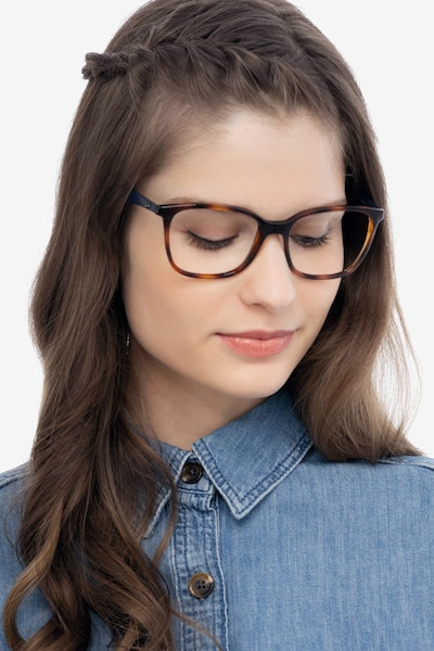 Ray-Ban RB7066 Tortoise Blue Plastic Eyeglass Frames for Women from EyeBuyDirect, Front View