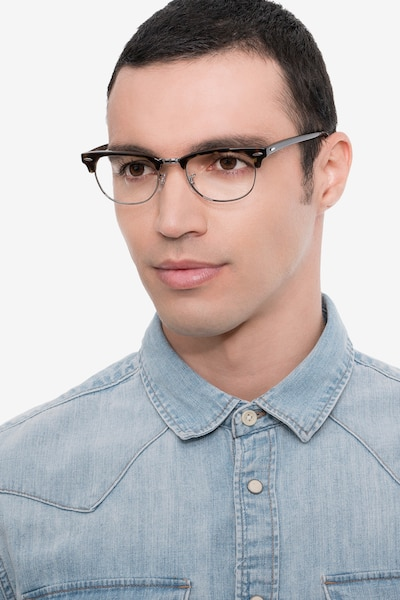 Ray-Ban RB5154 Tortoise Metal Eyeglass Frames for Men from EyeBuyDirect, Front View