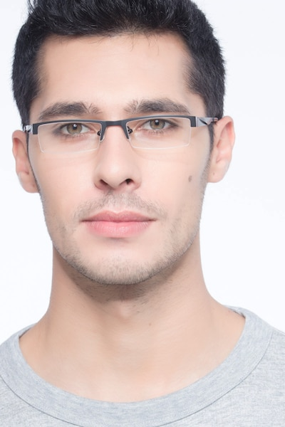 Malmo Black Metal Eyeglass Frames for Men from EyeBuyDirect, Front View