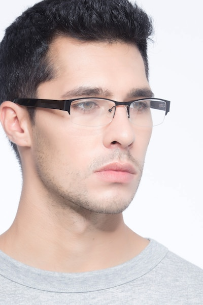Chilliwack Black Metal Eyeglass Frames for Men from EyeBuyDirect, Front View