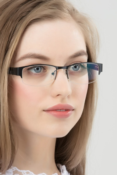 Chilliwack Black Metal Eyeglass Frames for Women from EyeBuyDirect, Front View