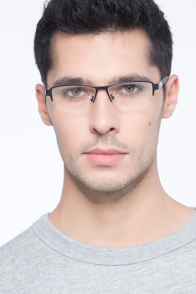 Lewis Black Metal Eyeglass Frames for Men from EyeBuyDirect, Front View