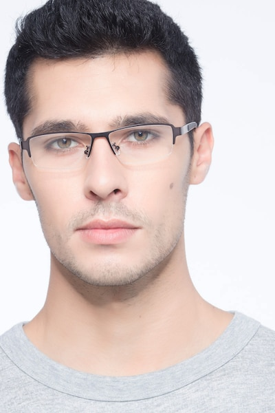 Lewis Gunmetal Metal Eyeglass Frames for Men from EyeBuyDirect, Front View