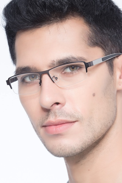 Lewis Gunmetal Metal Eyeglass Frames for Men from EyeBuyDirect