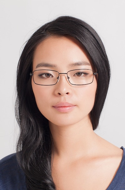 Braydon Black Metal Eyeglass Frames for Women from EyeBuyDirect, Front View