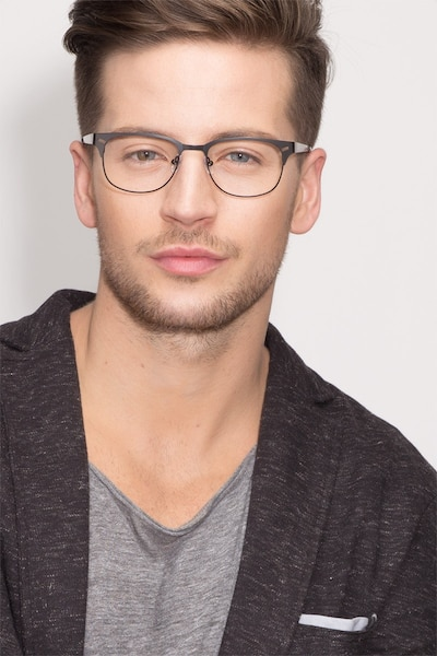 Merrion Black Metal Eyeglass Frames for Men from EyeBuyDirect, Front View