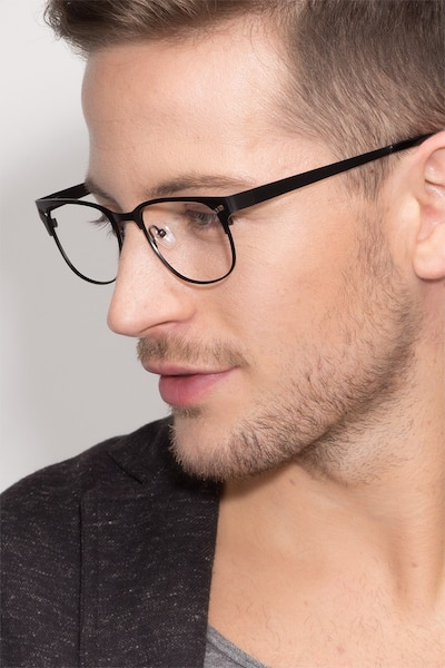 Merrion Black Metal Eyeglass Frames for Men from EyeBuyDirect