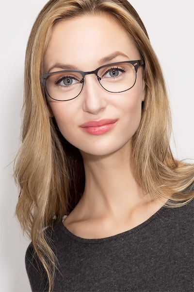 Merrion Black Metal Eyeglass Frames for Women from EyeBuyDirect, Front View
