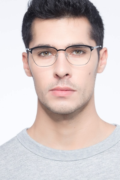Berkeley Black Metal Eyeglass Frames for Men from EyeBuyDirect, Front View