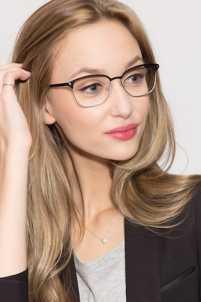 Berkeley Black Metal Eyeglass Frames for Women from EyeBuyDirect, Front View