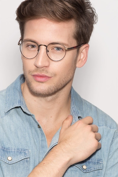 Fitzgerald Matte Black and Tortoise Metal Eyeglass Frames for Men from EyeBuyDirect, Front View
