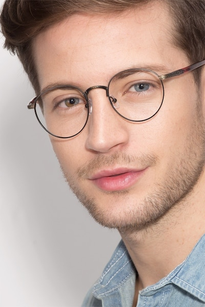 Fitzgerald Matte Black and Tortoise Metal Eyeglass Frames for Men from EyeBuyDirect