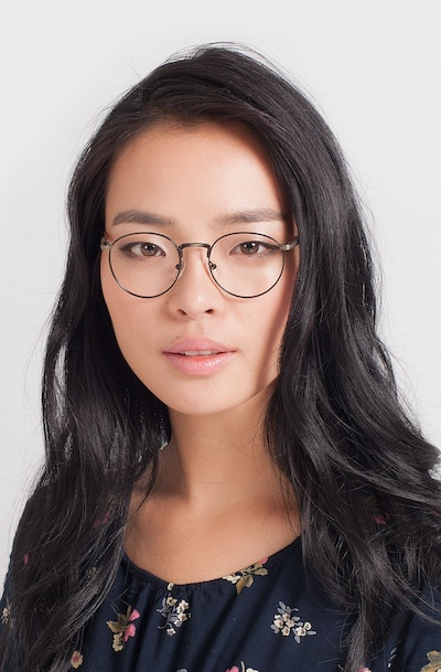 Fitzgerald Matte Black and Tortoise Metal Eyeglass Frames for Women from EyeBuyDirect, Front View