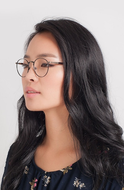 Fitzgerald Matte Black and Tortoise Metal Eyeglass Frames for Women from EyeBuyDirect