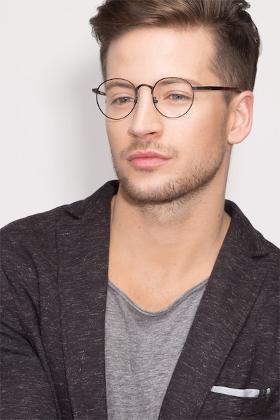 Fitzgerald  Black  Metal Eyeglass Frames for Men from EyeBuyDirect, Front View