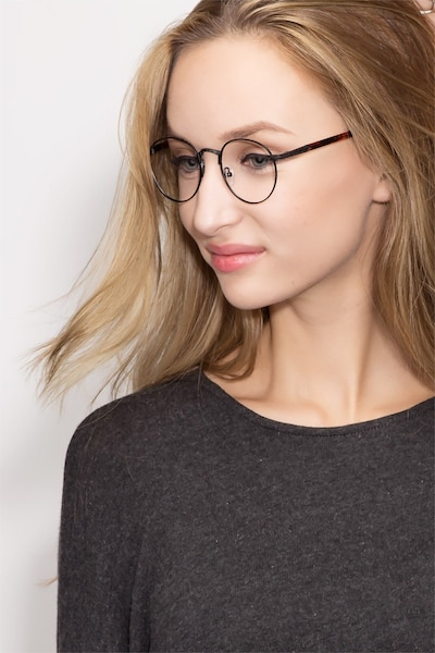Fitzgerald  Black  Metal Eyeglass Frames for Women from EyeBuyDirect, Front View