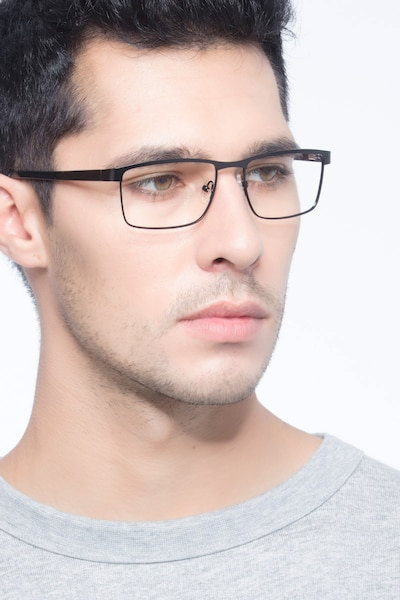 Time Square Black Metal Eyeglass Frames for Men from EyeBuyDirect, Front View