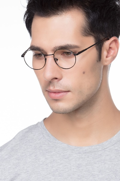 Santa Fe Black/Brown Metal Eyeglass Frames for Men from EyeBuyDirect