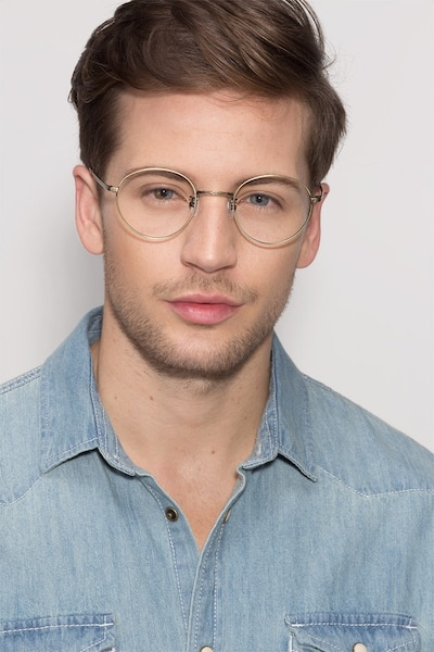 Amsterdam Bronze Metal Eyeglass Frames for Men from EyeBuyDirect, Front View