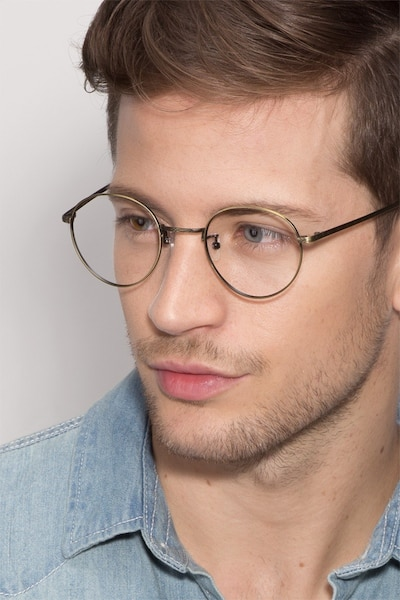 Amsterdam Bronze Metal Eyeglass Frames for Men from EyeBuyDirect