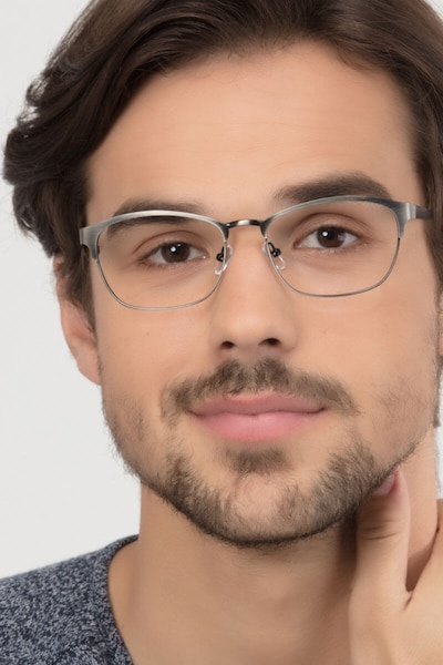 Upper East Gunmetal Metal Eyeglass Frames for Men from EyeBuyDirect