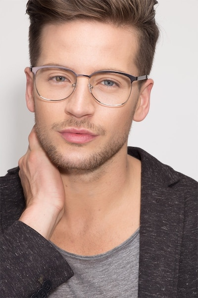 Dancer Gunmetal/Silver Metal Eyeglass Frames for Men from EyeBuyDirect, Front View