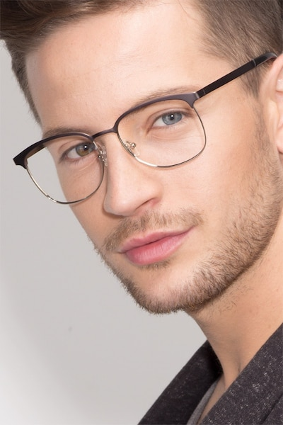 Dancer Gunmetal/Silver Metal Eyeglass Frames for Men from EyeBuyDirect