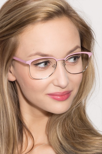 Dancer Pink/Silver Metal Eyeglass Frames for Women from EyeBuyDirect