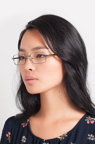 Oakland Gunmetal Metal Eyeglass Frames for Women from EyeBuyDirect