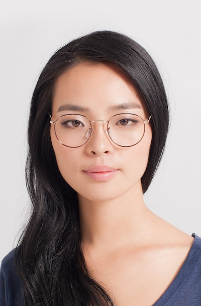 Daydream Brown/Golden Metal Eyeglass Frames for Women from EyeBuyDirect, Front View