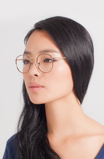 Daydream Brown/Golden Metal Eyeglass Frames for Women from EyeBuyDirect