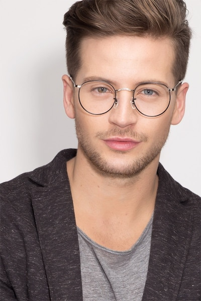 Daydream Black/Silver Metal Eyeglass Frames for Men from EyeBuyDirect, Front View