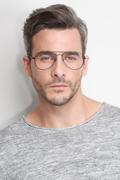Nantes Black Metal Eyeglass Frames for Men from EyeBuyDirect, Front View