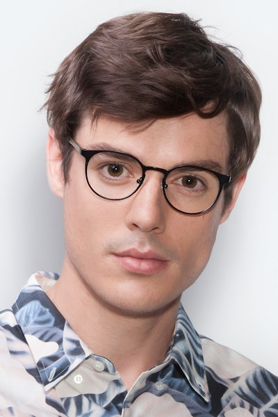 Outline Black Steel/Acetate Metal Eyeglass Frames for Men from EyeBuyDirect