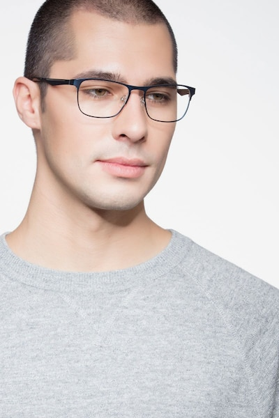 Bethnal Green Navy Metal Eyeglass Frames for Men from EyeBuyDirect, Front View