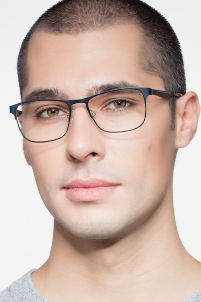 Bethnal Green Navy Metal Eyeglass Frames for Men from EyeBuyDirect