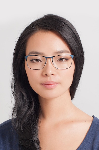 Bethnal Green Navy Metal Eyeglass Frames for Women from EyeBuyDirect, Front View